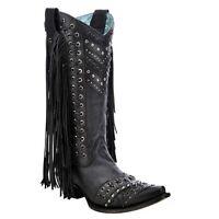 Corral Ladies Black Fringe and Stud Boot C3006