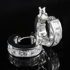 18K White Gold ICED OUT Simulated Diamond Princess Cut Channel Hoop Earring