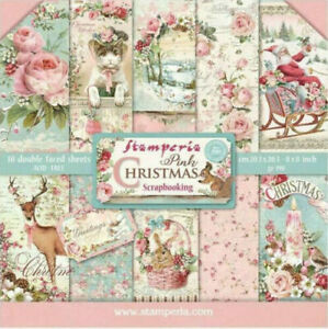 """Stamperia Pink Christmas 8 x 8"""" Paper Pack - NEW RELEASE  ::  Vintage Style"""