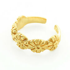 Ring Adjustable Yellow, Rose, White Gold 10K or 14K Solid Gold Flower Toe