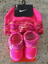 NEW Nike Baby Girl Infant Hat & Booties Set Size 0 - 6 Months