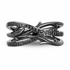 Enchanted Disney Villains Maleficent 0.25 CT Enhanced Black Diamond Wedding Band