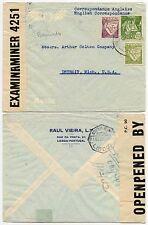 PORTUGAL WW2 INTERCEPTED BERMUDA CENSOR RAUL VIEIRA PRINTED ENV to DETROIT 1942