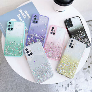 For Samsung S21 A21S A51 A71 S20 FE Bling Glitter Clear Shockproof Case Cover