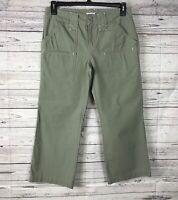 IZOD Khaki Green 100% Cotton Cargo Utility Crop / Capri Pants Pockets Size 6