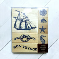 Nautical Rubber Stamp Set 7 Wood Mounted Recollections Ship Seashell Starfish