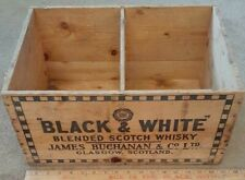 Vintage Wood Black White Scotch Whiskey Box Crate w/Center Rack