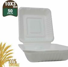 """Biomundi Compostable Clamshell Take Out Containers 10"""" 3 compartments 50-pack"""