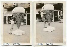 Two 1934 Photos: Drug Store, Boys w/ Giant Ice Cream Cone Street Display