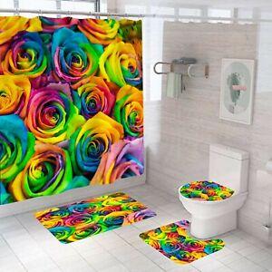 Colorful Rose Bathroom Rugs Shower Curtain Non-Slip Toilet Lid Cover Bath Mat