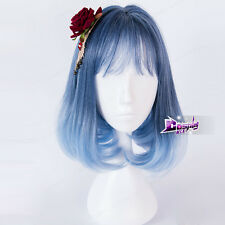 14'' Mixed Blue Purple Short Lolita Daily Cute Women Cosplay Wig Heat Resistant