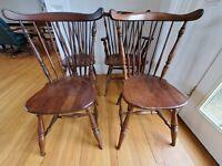 Local pickup - 4 Braceback Windsor Dining Kitchen Chairs Dark Wood Vintage