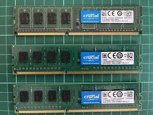3x 4GB Crucial 12GB DDR3L - 1600MHz UDIMM MEMORY FOR DESKTOP PC 1.35V CL11