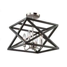 "Artcraft Elements 4 Light 12"" Semi-Flush Mount, Black/Polished Nickel - AC11044"