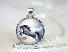 silver Chain Pendant Necklace wholesale White Horse cowgirl glass dome Tibet
