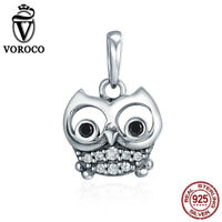 Voroco Lovely Owl S925 Sterling Silver Bead Charm Pendant With CZ For Bracelet