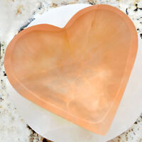 "XL Selenite ""Charging"" Bowl Heart Peach Crystal Stone Reiki CHARGED Healing Clea"