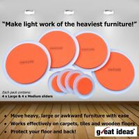 Furniture Movers, Slide Heavy Items Easily, 8 Piece pack
