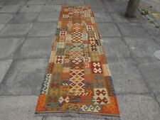 Kilim Vintage Traditional Hand Made Oriental Orange Long Kilim Runner 312x86cm