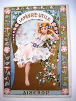 Beautiful Victorian Trade Card by G. Bussiere w/ Gorgeous Liseron Girl *