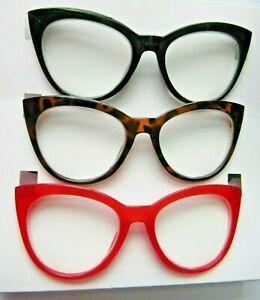 Betsey Johnson LARGE CAT EYE Reading Glasses +2.00 Strength NEW
