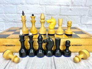Wooden Chess USSR Full Set Grossmeister Vintage Soviet 29X29 Soviet Chess set
