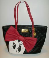 DISNEY STORE MINNIE MOUSE SIGNATURE QUILTED BLACK WITH RED BOW - NEW WITH TAGS