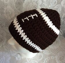 NEW Handmade Adult XL Crochet Brown Football Hat Beanie Men's Winter Acrylic