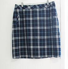 Laura Scott Womens Plaid Skirt New Navy Sz L - NWT