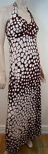 DIANE VON FURSTENBERG Burgundy & White Geometric Print Silk Halter Maxi Dress 10