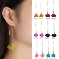 Korean Style Flowers Tassel Bohemian Women Hook Long Dangle Earrings Ear Jewelry