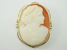 2372 Very Large Brooch Pin Solid 14k Yellow Gold & Hand Carved Cameo 46mm x 36mm