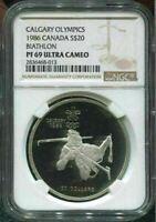 1986 CANADA $20 - CALGARY OLYMPICS - BIATHLON - NGC PF69 UC /w BOX & COA