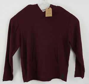 New Weatherproof Men's XL Maroon 100% Cotton Knit Pullover Hoodie Sweatshirt