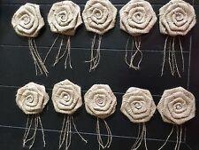 10 Natural Burlap Spray Rose Flowers Rustic Wedding Pearl Option Table Decor