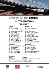 Teamsheet - Arsenal v Swansea City 2014/15