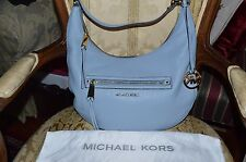 MICHAEL KORS RHEA ZIP TOP LARGE HOBO HANDBAG SHOULDER BAG LEATHER BLUE NEW