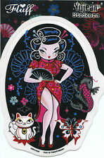 SEXY GEISHA with koi fish/butterfly/cat STICKER **FREE SHIPPING** -d 15797