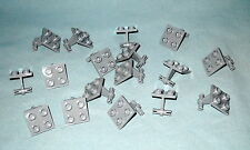 17 NEW LIGHT GRAY LEGO PLATES MODIFIED 2X2, THIN DUAL WHEELS HOLDER, SPLIT PINS