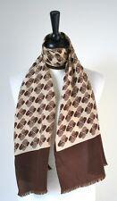 70's brown/beige geometric print vintage silk scarf - Long