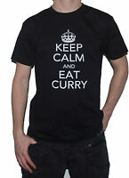 NEW Keep Calm and EAT CURRY - Funny T-SHIRT! Indian Food Restaurant Top