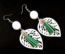 White Lightweight Wood Fashion Earrings with Faux Suede Green Tassels # 662