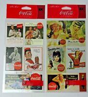 Sticko ~ (2) Coca-cola Brand Sticker Sheets ~ Coca-cola Classic Ad Stickers RARE