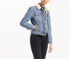 Levis Sherpa Womens Trucker Jacket Divided Blue 361360000