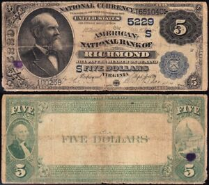 "*RARE* 2nd Charter 1882 $5 RICHMOND, VA ""Value Back"" National Banknote! T651040"