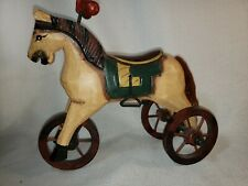 Vintage Replica Hand Carved Painted Wooden Horse Tricycle Toy 7.5 inches tall
