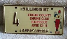 Illinois Specialty License Plate 1997 Edgar County Shrine Club Barbeque  #4