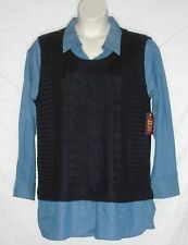 FADED GLORY – SWEATER VEST SHIRT – ONE-PIECE – NAVY BLUE – SIZE XXL (20) -NWT