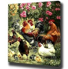Paint By Number Kit Village Birds Chicken Roaster 40x50cm Canvas Wall Decoration