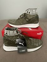 Puma Ignite evoKNIT Olive night Quarry White Mens Sneakers Trainers size UK8